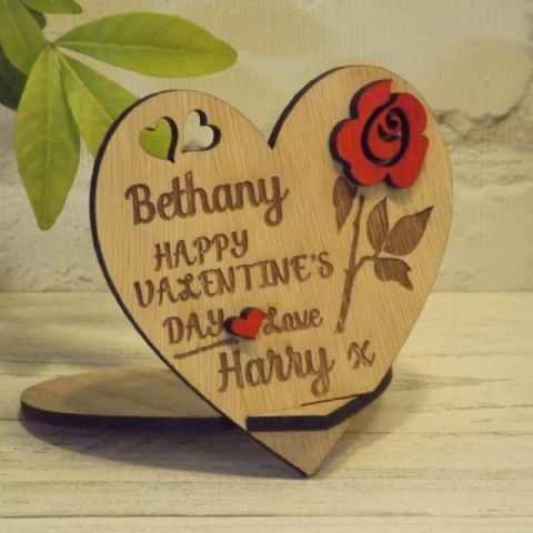 Personalised Valentine's Day Love Heart with Red Rose Gift, Freestanding